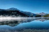 Lake Champfer with Corvatsch and Piz da la Margna, Champfer, Engadine, Canton Grisons, Switzerland
