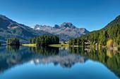 Lake Champfer with Silvaplana and Piz da la Margna, Champfer, Engadine, Canton Grisosn, Switzerland