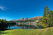 View over St. Moritz Lake with St, Moritz, Piz Lagrev, Piz Albana and Piz Julier, Engadine, Canton Grisosn, Switzerland