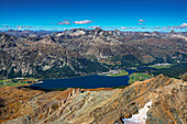 View from the Corvatsch-Summitstation on the upper Engadine with Silvaplana, Lake Silvaplana, Cham