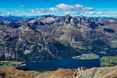View from the Corvatsch-Summitstation on the upper Engadine with Silvaplana and Lake Silvaplana, Engadine, Canton Grisons