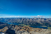 View from Corvatsch-summitstation on Lake Sils, Sils, Lake Silvaplana and Silvaplana, Engadine, Canton Grisosn, Switzerl