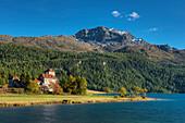 Crap das Sass castle with Lake Silvaplana and Corvatsch, Silvapana, Canton Grisosn, Switzerland