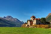 Crap da Sass castle with Lake Silvaplana and Piz da la Margna, Engadine, Canton Grisons, Switzerland
