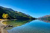 Lake Silvaplana with Sils, Engadine, Canton Grisons, Switzerland