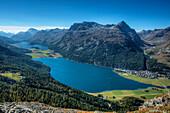 Lake Sils, Sils, Lake Silvaplana, Silvaplana and Piz Polaschin, Engadine, Canton Grisons, Switzerland