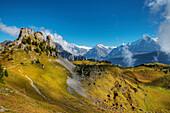 View at Oberberghorn, Wetterhorn, Schreckhorn and Eiger-Northface from Schynige Platte, Wilderswil, Bernese alp