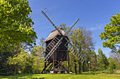 Post windmill in the outdoor museum in hanseatic town Stade, Altes Land, Lower Saxony, Northern Germany, Germany, Europe