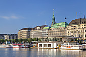Jungfernstieg with Alsterpavillon and tower of Michel by the Inner Alster, Hanseatic City of Hamburg, Northern Germany, Germany, Europe