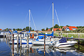 Boats in the harbour in Kloster, Island Hiddensee, Baltic coast, Mecklenburg-Western Pomerania, Northern Germany, Germany, Europa