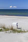 Beach chair on the beach, Vitte, Island Hiddensee, Baltic coast, Mecklenburg-Western Pomerania, Northern Germany, Germany, Europa