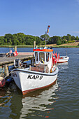 Fishing boat in the harbour in Kappeln, Baltic coast, Schleswig-Holstein, Northern Germany, Germany, Europe
