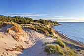 Cliffs and dunes in evening light, near Dranske, Peninsula Wittow, Island Ruegen, Baltic Sea coast, Mecklenburg-Western Pomerania, Northern Germany, Germany, Europe
