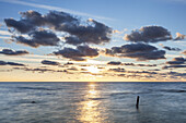 Sunrise over Baltic Sea, Vitt, Peninsula Wittow, Island Ruegen, Baltic Sea coast, Mecklenburg-Western Pomerania, Northern Germany, Germany, Europe