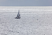 Sailing boat on the Baltic Sea, Peninsula Wittow, Island Ruegen, Baltic Sea coast, Mecklenburg-Western Pomerania, Northern Germany, Germany, Europe