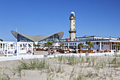 Old lighthouse and Teepott on the beach promenade, Baltic Sea resort Warnemuende, Hanseatic City Rostock, Baltic Sea coast, Mecklenburg-Western Pomerania, Northern Germany, Germany, Europe