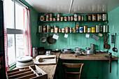 Historic cans and kitchen utensils on display at the museum of Port Lockroy British Antarctic Survey Station Port Lockroy, Wiencke Island, Graham Land, Antarctic Peninsula, Antarctica