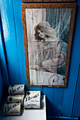 Playboy's Miss June 1965 on display in toilet at the museum of Port Lockroy British Antarctic Survey Station Port Lockroy, Wiencke Island, Graham Land, Antarctic Peninsula, Antarctica
