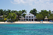 View from sea to Sunset Beach and Lobby of Half Moon Resort Rose Hall, near Montego Bay, Saint James, Jamaica