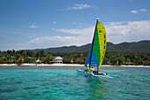 Hobie Cat sailboat watersports activity in Caribbean Sea at Half Moon Resort Rose Hall, near Montego Bay, Saint James, Jamaica