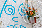 graffiti, humorous wall painting, flower pot in bird cage, wall decoration, nobody, Lisbon, Portugal