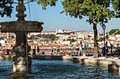 fountain, view from Miradouro de Sao Pedro de Alcantara, Lisbon, Portugal
