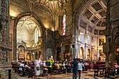 interior, photos with smart phone, Church of Santa Maria, Jeronimos Monastery, Belém, Lisbon, Portugal