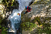 Canyoning, adventure water sport, abseil, white water, Routeburn Track, National Park, South Island, New Zealand