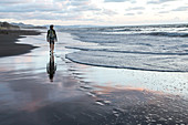 one person only walking on sandy beach, sunset, landscape, North Island, New Zealand