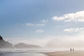 Archway Islands, Wharariki Strand, Seenebel, Küstennebel, morgens, Wanderer, Urlauber, weiter Sandstrand, Natur, Landschaft, mystisch, Natur, Meer, Wasser, Westküste, Südinsel, Neuseeland