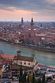 View from Castel San Pietro over the oldtown of Verona with the towers of the church Santa Anastasia (right) and the Torre dei Lamberti (left) on the Adige, Veneto, Italy