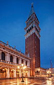 Overlooking the St. Mark's Square with the illuminated Markusturm the bell tower of St. Mark's in the blue of the night, San Marco, Venice, Veneto, Italy