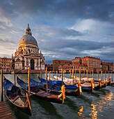 View over the Grand Canal to the Church of Santa Maria della Salute with gondolas in the morning sun and dramatic clouds, San Marco, Venice, Veneto, Italy