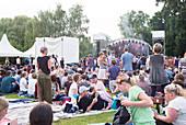 Festival at vineyard of Baron zu Knyphausen, Eltville am Rhein, Rheingau, Hesse, Germany