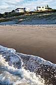 Campground at Papamoa Beach, holiday beach, sand, surf, Tauranga, North Island, New Zealand