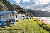 campground direct on beachfront, campervans front row, golden sand, Tauranga Bay, Northland, North Island, New Zealand