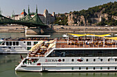 Sightseeing boats on the Danube and Szabadsag Hid (Liberty Bridge), Budapest, Hungary
