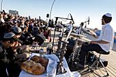 Friday evening open-air concert, the trendy port area, north Tel-Aviv, Israel