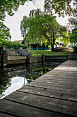 Wooden jetty in the garden, Spreewald, Summer, Vacation, Oberspreewald, Brandenburg, Germany