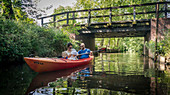 Paddling along the river Spree, Spreewald, Vacation, Family Tour, Kayak, Summer, Oberspreewald, Brandenburg, Germany
