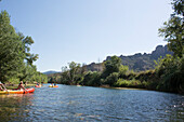 kayaking on the river Orb, River landscape, kayak, holiday, summer, Roquebrun, southern France