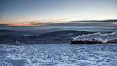 Sunset and Brocken Railway, Winter landscape, Schierke, Brocken, Harz national park, Saxony, Germany