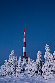 Aerial, weather station and Winter landscape, Schierke, Brocken, Harz national park, Saxony, Germany