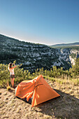 Camping near the Gorges de Verdon, Route des Cretes, Vosges, Provence-Alpes-Cote d'Azur, France