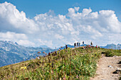 Wanderung am Fellhorngrat, Bergpanorama, Wanderwege, Fellhornbahn, Urlaub, Sommer, Oberstdorf, Oberallgäu, Alpen, Deutschland
