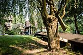 Kinder spielen im Garten, Familie, Ferienwohnung, Unterkunft, Urlaub, Sommer, Spreewald, Oberspreewald, Brandenburg, Deutschland