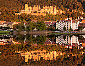 View over the Neckar River to the castle at sunset, Heidelberg, Baden-Wurttemberg, Germany, Europe