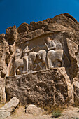 Carved relief of the Investiture of Ardashir I, 224-239 AD, Naqsh-e Rostam Necropolis, near Persepolis, Iran, Middle East