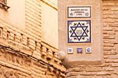 A sign denoting the Jewish quarter in Toledo, Spain, Europe
