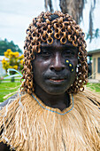 Traditionally dressed man from a Bamboo band in Buka, Bougainville, Papua New Guinea, Pacific